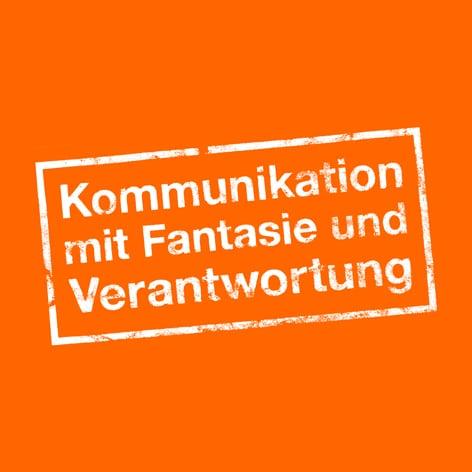 """Blattwerk Media Stempel """"Kommunikation mit Fantasie und Verantwortung"""""""