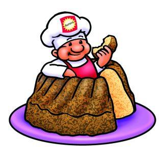 Aurora-Mehl Kuchen mit Bäcker Illustration